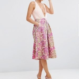 Asos occasion prom skirt in pink floral